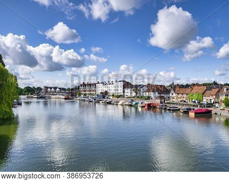 6 June 2019: Henley On Thames, Uk - The River Thames, Where It Is Lined By Beautiful Old Buildings,