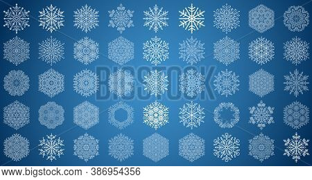 Set Of Vector Snowflakes. White Winter Ornaments. Snowflakes Collection. Snowflakes For Backgrounds