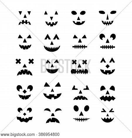 Halloween Pumpkin Faces Icon Set. Spooky Jack-o -lantern Vector Elements Isolated On White. Hallowee