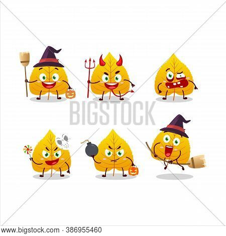 Halloween Expression Emoticons With Cartoon Character Of Yellow Dried Leaves