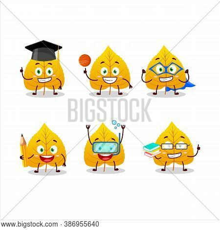School Student Of Yellow Dried Leaves Cartoon Character With Various Expressions