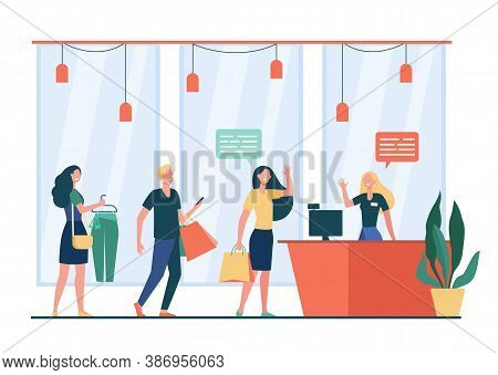 People Shopping In Store And Waiting In Line Or Queue Flat Vector Illustration. Cartoon Seller Stand