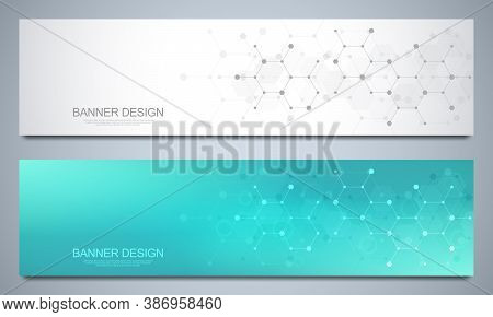 Banner Design Templates And Headers For Site With Molecular Structures Background And Chemical Engin