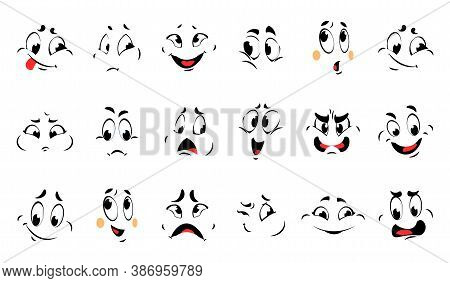 Funny Cartoon Faces. Comic Different Emotions. Vector Character Collection Expressions Smile And Con