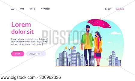 Young Couple In Rain Vector Illustration. Man And Woman In Raincoats Standing Under Umbrella On Urba