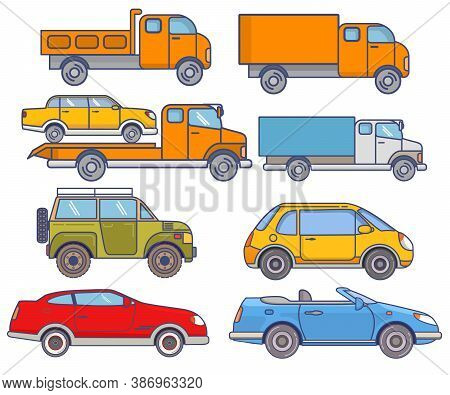 Cars Minivan, Taxi, Tow Truck, Suv, Coupe, Convertible, Vehicle Set Flat Icon Vector.