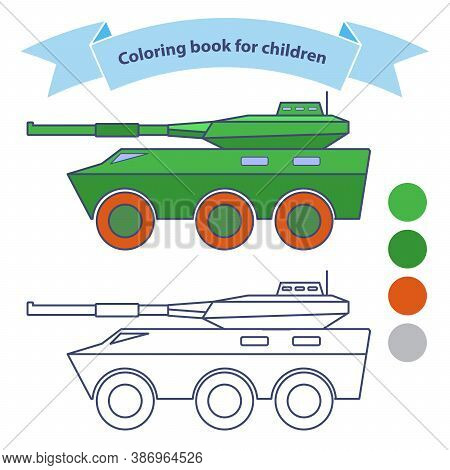 Infantry Fighting Vehicle. Military Toy Coloring Book For Children.isolated On White Background.