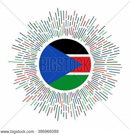 South Sudan Sign. Country Flag With Colorful Rays. Radiant Sunburst With South Sudan Flag. Vector Il