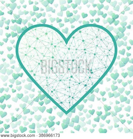 Low Poly Heart. Geometric Heart Mesh In Teal Green Color Shades, Teal Green Connections. Appealing N