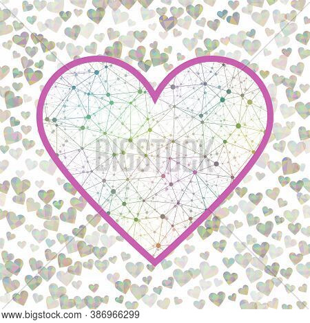 February 14 Valentine Day Sign. Geometric Heart Mesh In Vivid Color Shades, Vivid Connections. Appea