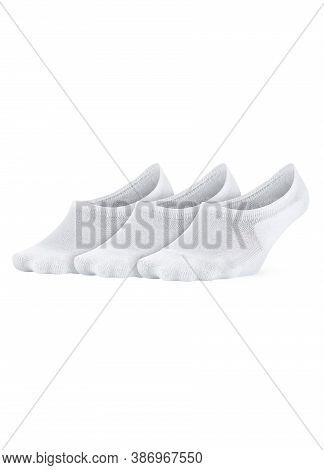 White Color Short Mini Socks Mockup For Design Isolated On White Background. Set Of Short Socks For