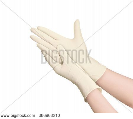 Medical Nitrile Gloves.two Yellow Surgical Gloves Isolated On White Background With Hands. Rubber Gl