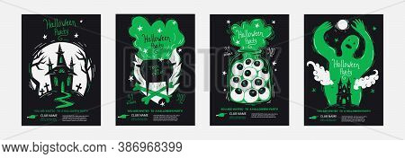 Halloween Party Posters Invitations Set In Minimalism Duo Tone Style, Good For Typography Print. Tem