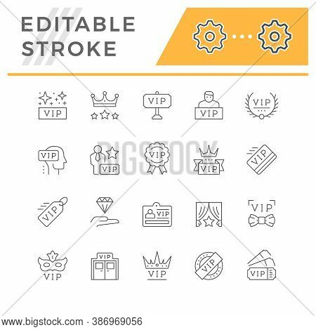 Set Line Icons Of Vip Isolated On White. Very Important Person, Pass Card, Royal Sign, Celebrity Sym