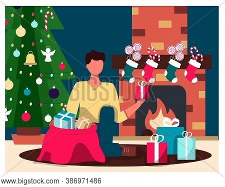 A Man On The Background Of A Christmas Tree And A Fireplace Takes Out Christmas Gifts. Flat Illustra