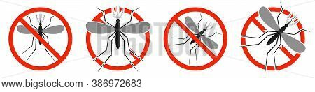 The Mosquito With Red Ban Sign. Stop Mosquito Sign Isolated. Set Of Kill Mosquito Icons. Vector Illu