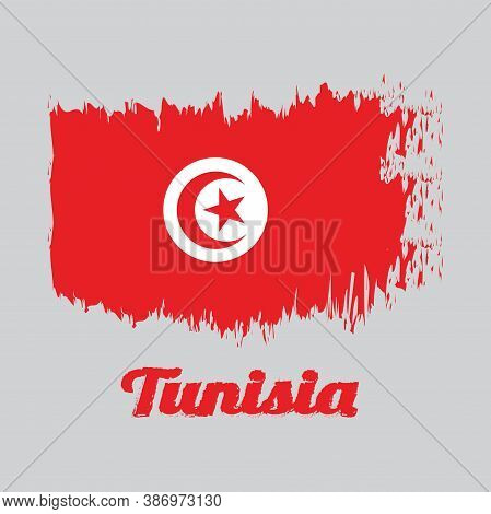 Brush Style Color Flag Of Tunisia, Red And White Flag With Star And Crescent In Center With Text Tun