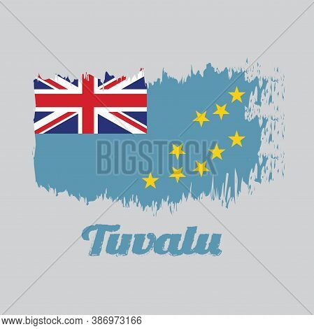 Brush Style Color Flag Of Tuvalu, A Light Blue Ensign With The Map Of The Island Of Nine Yellow Star