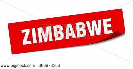 Zimbabwe Sticker. Zimbabwe Red Square Peeler Sign