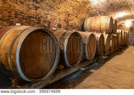 wine cellar with wooden barrels in Hajos, Southern Transdanubia, Hungary