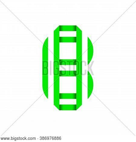 Striped Font, Modern Trendy Alphabet, Letter B Folded From Green Paper Tape, Vector Illustration