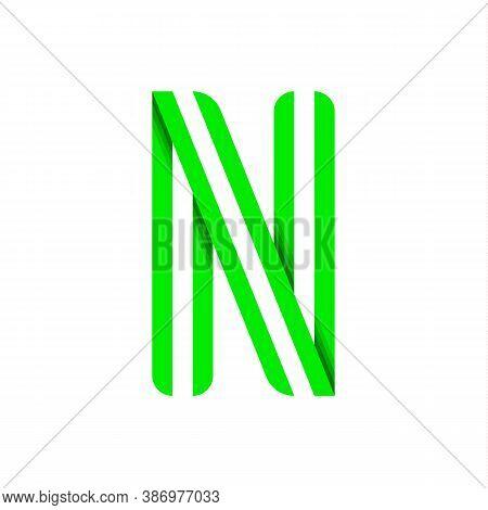 Striped Font, Modern Trendy Alphabet, Letter N Folded From Green Paper Tape, Vector Illustration