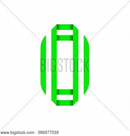 Striped Font, Modern Trendy Alphabet, Letter O Folded From Green Paper Tape, Vector Illustration