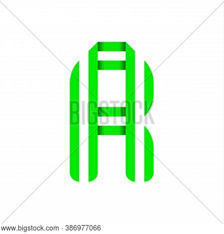 Striped Font, Modern Trendy Alphabet, Letter R Folded From Green Paper Tape, Vector Illustration