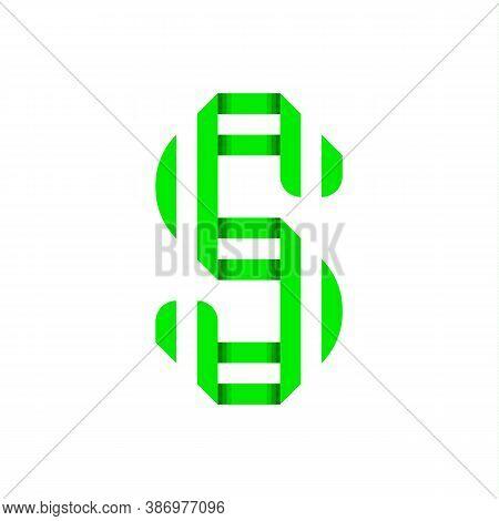 Striped Font, Modern Trendy Alphabet, Letter S Folded From Green Paper Tape, Vector Illustration