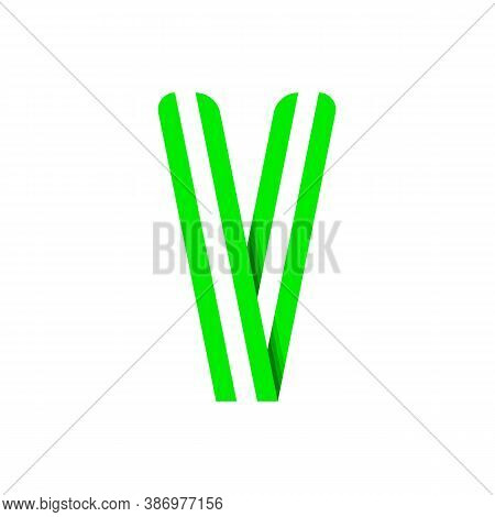 Striped Font, Modern Trendy Alphabet, Letter V Folded From Green Paper Tape, Vector Illustration