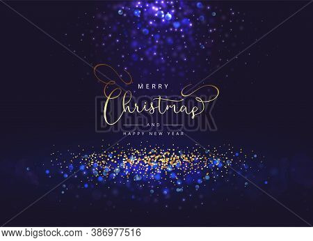 Christmas Dark Blue Bokeh Background With Lights And Sparks. Background With Light Burst