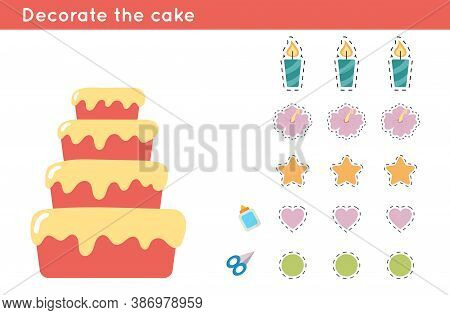 Educational Paper Game For Preschool Kids. Decorate The Birthday Cake. Cut And Glue Decor - Candle,
