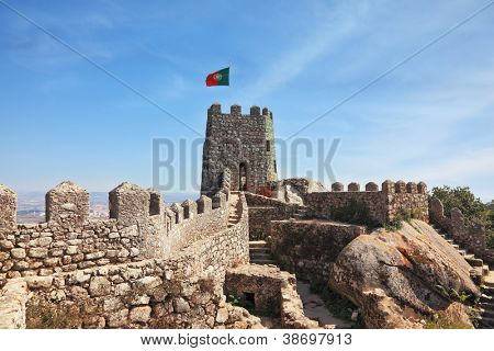 The seaside resort of Sintra on the Atlantic. The Mauritian fortress is surrounded with picturesque gear walls