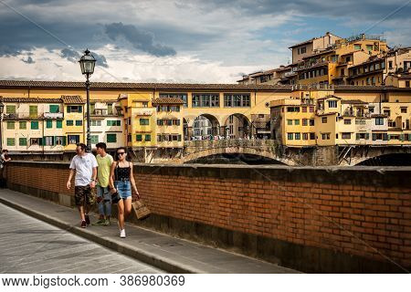 Florence, Italy - Aug 3, 2020: Ponte Vecchio, Old Bridge Over The River Arno In Florence Downtown, U
