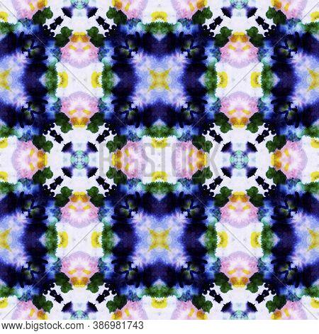 Geometric Painting. Abstract Shibori Motif. Seamless Tie Dye Ornament. Ikat Asian Print. Pastel Blue