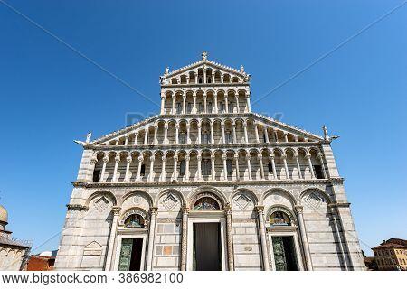 Main Facade Of The Pisa Cathedral, (duomo Di Santa Maria Assunta), In Pisan Romanesque Style, Square