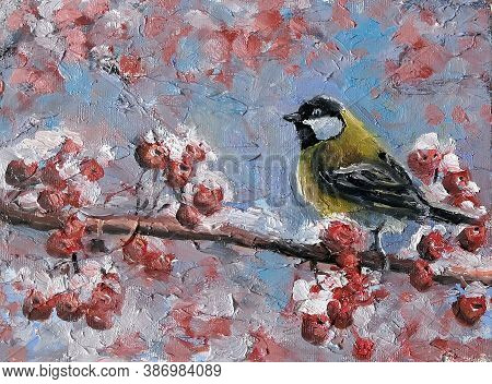 Bird Titmouse On A Branch With Red Berries In The Winter. Oil Painting On Canvas.. Original Impressi