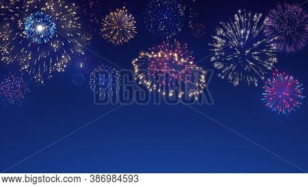 Firework Explosion Burst, Colorful Firecrackers And Night Festival Celebration Vector Background Ill