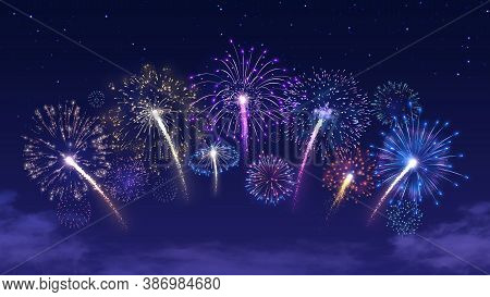Firecracker Festival, Colorful Firework Burst And Holiday Celebration Vector Background Illustration