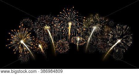 Shiny Gold Fireworks Arc, Premium Yellow Firework Burst And Luxury Holiday Celebration Vector Illust