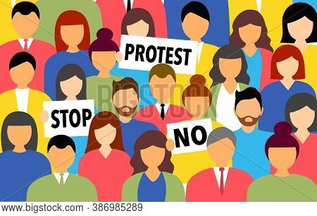 Protest Concept Vector Illustration. People Crowd Holding Protest Banner. People With Placards Prote