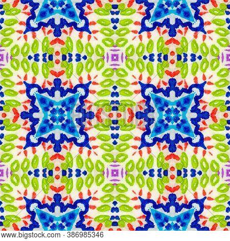 Geometric Rug Pattern. Abstract Batik Print. Dots, Red, Green, Blue Seamless Texture. Seamless Tie D