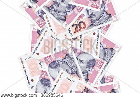 20 Croatian Kuna Bills Flying Down Isolated On White. Many Banknotes Falling With White Copyspace On