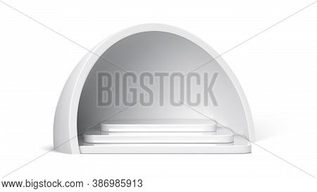 Empty Podium, White Stage Stairs And Pedestal Under Hemisphere Roof Isolated Realistic 3d Vector Ill