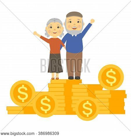 Happy Elderly Couple Standing On Stack Of Coins. Retirement Saving And Financial Success In Old Age.