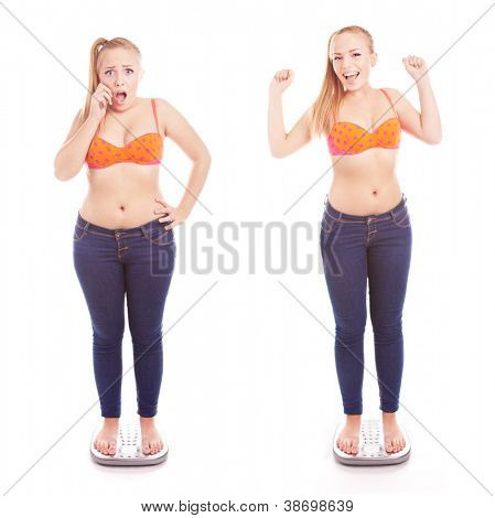 Before and after a diet, girl on a bathroom scale