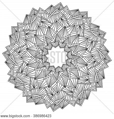 Abstract Vector Mandala Of Straight Lines And Triangles, Twelve-ray Circular Pattern, Antistress Col