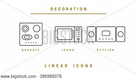 Set Of Outline Vector Home Appliances Icons For Web Design In Simple Linear Style Isolated On White