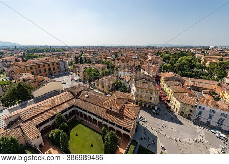 Aerial View Of Pisa, Cityscape View From The Leaning Tower, Piazza Dei Miracoli, Unesco World Herita