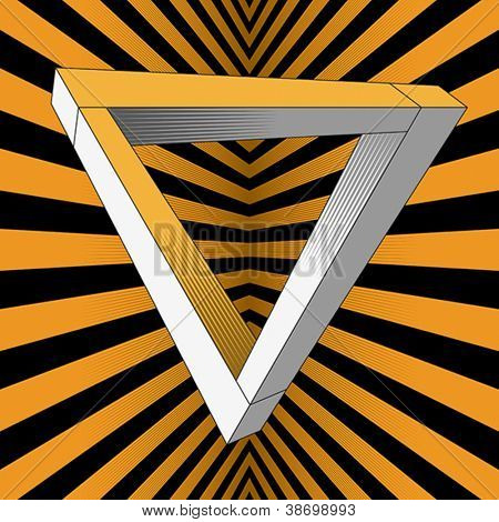 An impossible object (Penrose triangle). Vector format EPS 8, CMYK.